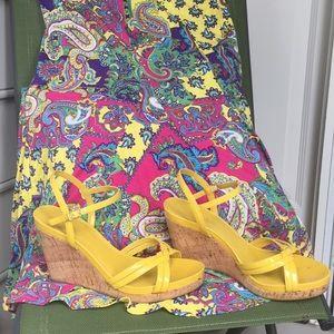 Ralph Lauren yellow wedge sandals.